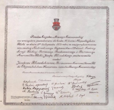 1933: Dyplom dla Marszałka Piłsudskiego