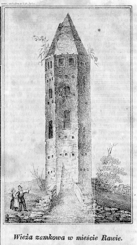 Rycina Zamku w Rawie z 1845 roku
